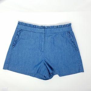 J.Crew hi-rise chambray ruffle top shorts size 4